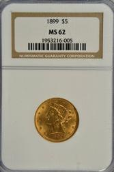 Very pretty 1899 $5 Liberty Gold Piece. NGC MS62