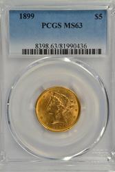 Choice BU 1899 $5 Liberty Gold Piece. PCGS MS63