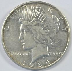 Fully struck 1934-S Peace Silver Dollar in AU.