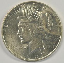 Frosty-white virtual BU 1927-D Peace Silver Dollar