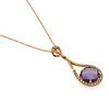 Very Attractive Amethyst & Diamond Pendant Necklace