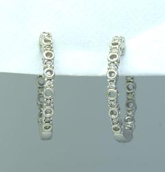 White Gold Diamond In Out Hinged Hoop Earrings