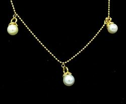 7.9mm Pearl Drop Necklace in 14kt Gold