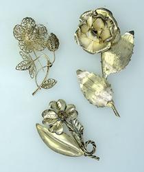 Estate Lot of Sterling Flower Pins