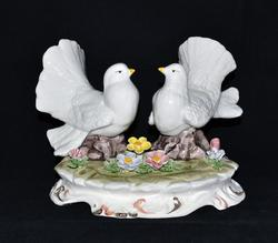 Doves with Flowers Porcelain Figure, Capodimonte Italy
