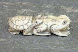 Natural Ivory Ojimi - Turtle Piggybacking on a Frog
