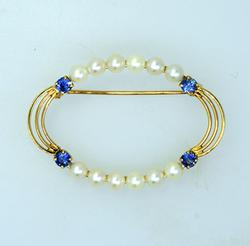 Natural Pearl and Sapphire Pin in 14KT Gold