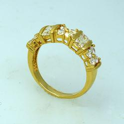 Gold Ladies CZ Cluster Ring, Size 6.75
