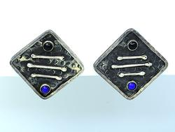 Hand Made Sterling Earrings w Lapis and Onyx