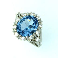 Ladies White Gold Synthetic Spinel Ring, Size 6.5