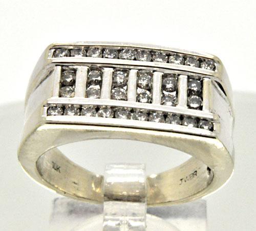 MEN'S 14 KT WHITE GOLD DIAMOND RING/BAND