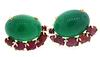 Very Unique Green Onyx and Carved Ruby Earrings