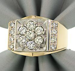 Gents Multi Diamond Two Tone Ring