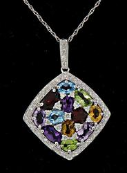 Colorful Multi Gemstone & Diamond Pendant Necklace