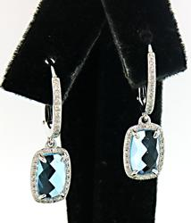 Fabulous Blue Topaz & Diamond Dangle Earrings