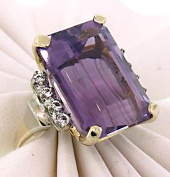 Phenomenal Amethyst & White Quartz Cocktail Ring.