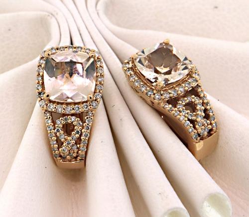 Splendid Morganite and Diamond J Hoop Earrings