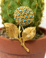 Italian Made 18K Flower Brooch
