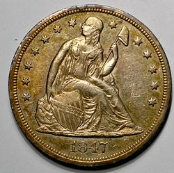 1847 Seated Liberty Dollar, Tone Great Details