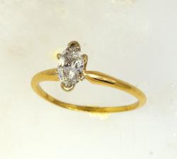 0.57 CT Marquise Cut Diamond Ring, Size 6.75