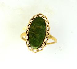 Gold Ladies Ring w Green Agate Stone