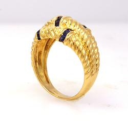 Gold and Sapphire Three Row Rope Style Ring, Size 7.25