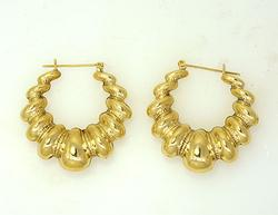 Ornate 1.5 in Gold Hoops, 14kt