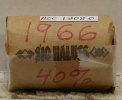 1966 Roll of Silver (40%) Kennedy Halves, circuloated