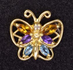Multi-Gem Gold Butterfly Pendant