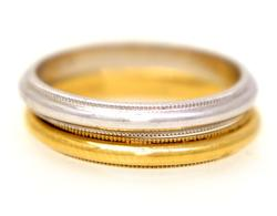 Two Gold Bands, White Gold & Yellow, Both Size 6.25