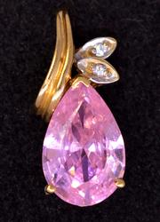 Pink CZ & Diamond Accent Pendant in Gold