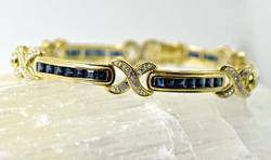 Stylish 14K Sapphire & Diamond Bracelet
