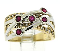 Ruby and Diamond Bypass Ring