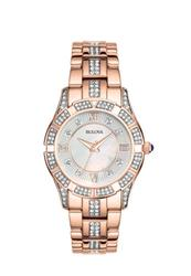Like New Ladies Rose Gold Tone MOP Dial Bulova, In Box