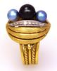 Ornate Blue & Black Pearl Gold Ring, Size 6
