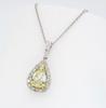 Light Yellow Pear Cut Diamond Pendant