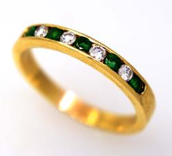 Diamond & Emerald Band in Gold, Size 8