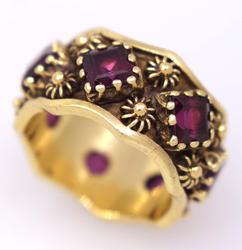 Vintage Purple Garnet Band in Gold, Size 7