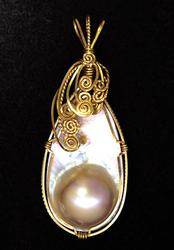 Vintage Style Blister Pearl Abalone Pendant