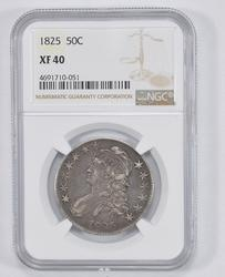 XF40 1825 Capped Bust Half Dollar - NGC Graded