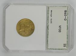 VF30 1860-D $5.00 Liberty Head Gold Half Eagle - PCI Graded