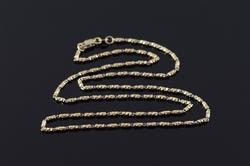 18K Yellow Gold 1.7mm Fancy Faceted Link Chain Necklace