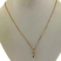 14KT Yellow Gold Diamond Pendant Necklace