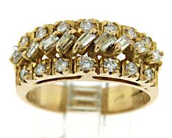 18kt 3 Row Diamond Ring