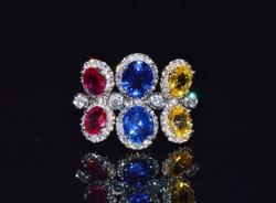 18kt Gold Ruby, Sapphire, & Diamond Ring