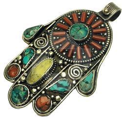 Fascinating Ethnic Handmade Multi Gemstone Pendant