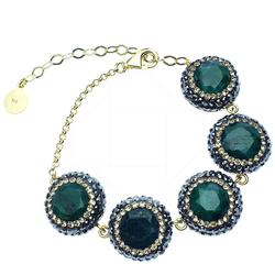 Beautiful Green Gems & Dazzling Crysals 925 S Bracelet