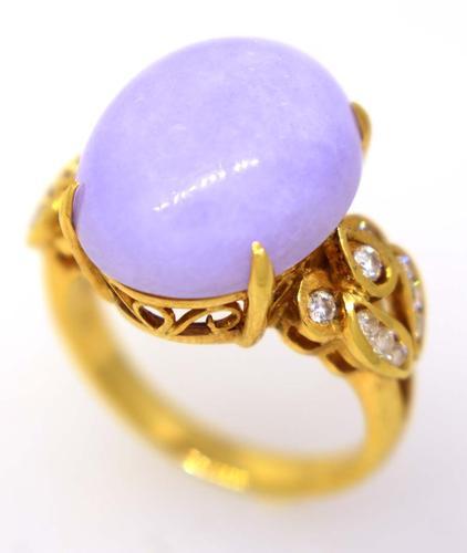Gorgeous Lilac Quartz Gold Ring with Diamonds, Size 7