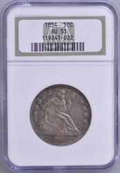 1854 50c Seated Liberty NGC AU53