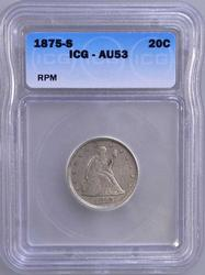 1876-S RePunched Mint Mark 20c, ICG AU53